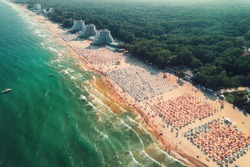 Aerial drone view of Albena sandy beach resort, Bulgaria. Summer tourism.