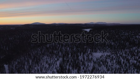 Aerial drone  view of forest and the Pallas mountains and polar night colors, in Lapland Foto d'archivio ©