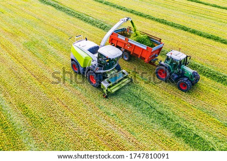 Aerial drone view of harvest. Combine harvester and tractor with carriage on the field. Winter crop harvesting