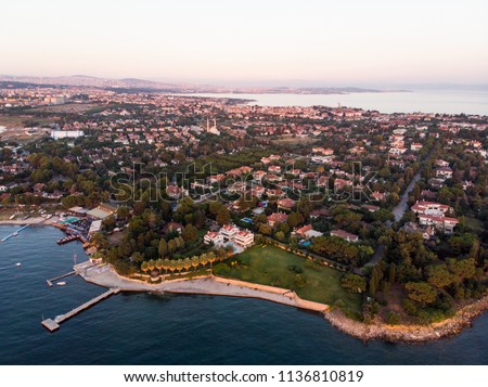 Aerial Drone View of Istanbul Tuzla Seaside at Golden Hour / Blue Hour #1136810819