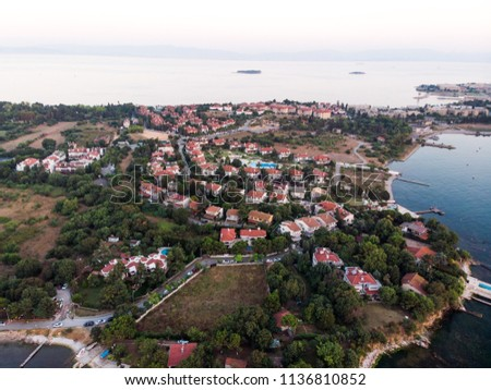 Aerial Drone View of Istanbul Tuzla Seaside at Golden Hour / Blue Hour #1136810852