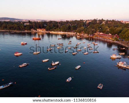 Aerial Drone View of Istanbul Tuzla Seaside with Boats Golden Hour / Blue Hour #1136810816