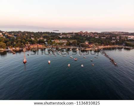 Aerial Drone View of Istanbul Tuzla Seaside with Boats Golden Hour / Blue Hour #1136810825