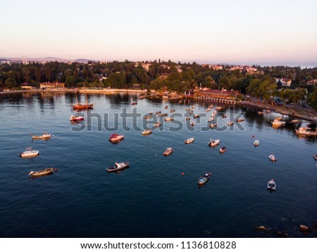 Aerial Drone View of Istanbul Tuzla Seaside with Boats Golden Hour / Blue Hour #1136810828