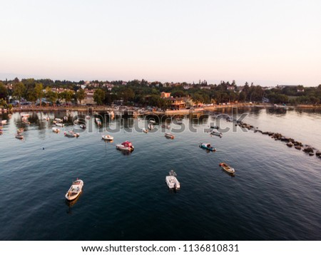 Aerial Drone View of Istanbul Tuzla Seaside with Boats Golden Hour / Blue Hour #1136810831