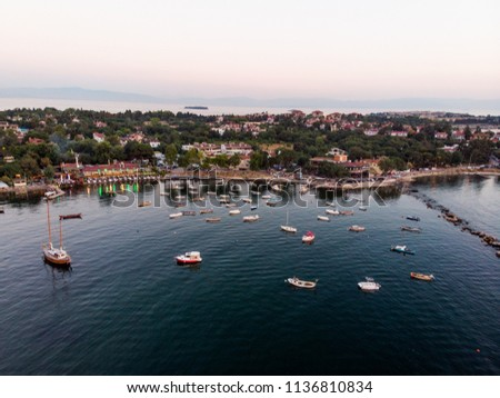 Aerial Drone View of Istanbul Tuzla Seaside with Boats Golden Hour / Blue Hour #1136810834