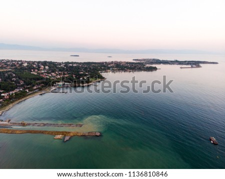 Aerial Drone View of Istanbul Tuzla Seaside with Boats Golden Hour / Blue Hour #1136810846