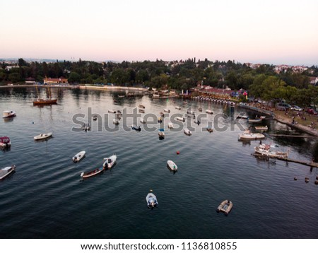 Aerial Drone View of Istanbul Tuzla Seaside with Boats Golden Hour / Blue Hour #1136810855