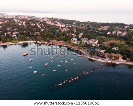 Aerial Drone View of Istanbul Tuzla Seaside with Boats Golden Hour / Blue Hour #1136810861