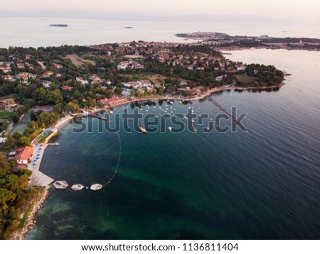 Aerial Drone View of Istanbul Tuzla Seaside with Boats Golden Hour / Blue Hour #1136811404