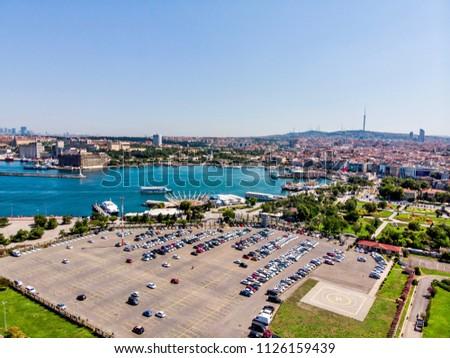 Aerial Drone View of Kadikoy Car Park in Istanbul. Stok fotoğraf ©