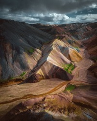 Aerial drone view of Landmannalaugar colorful mountains panorama in Iceland. Beautiful nature landscape