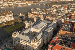 Aerial drone view of Museum of Ethnography in Budapest Kossuth Square