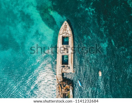 Aerial Drone View Of Old Shipwreck Ghost Ship Vessel #1141232684