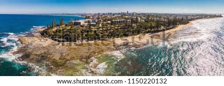 Aerial drone view of Shelly Beach at Caloundra, Sunshine Coast, Queensland, Australia