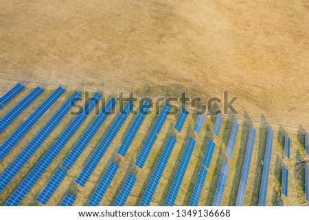 Aerial drone view of solar panels at a solar energy farm. Vilnius county, Lithuania #1349136668