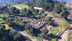 Aerial drone view of Temple of Zeus in archaeological site of Ancient Olympia birthplace of the world famous Olympic games, Peloponnese, Greece