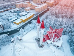 Aerial drone view of the famous landmark of Ufa and Bashkiria - Lala Tulip mosque during sunset in winter season. Islamic religion and muslim culture in Russia concept