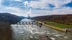 Aerial drone view of the Fort Martin coal powered power station near Morgantown in West Virginia in the late autumn