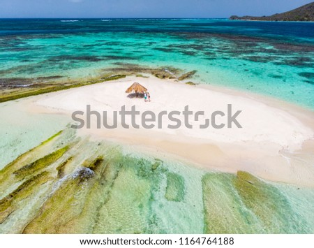 Aerial drone view of tiny tropical Mopion island sandbar, turquoise Caribbean sea and a family with kids in St Vincent and Grenadines #1164764188