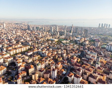 Aerial Drone View of Unplanned Urbanization City of Istanbul Kartal Yakacik. Cityscape.