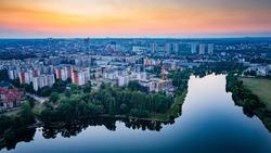 Aerial drone view on Katowice at evening. Silesia, Poland