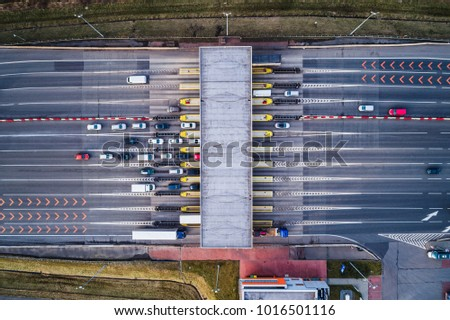 Aerial drone view on toll collection point on the motorway