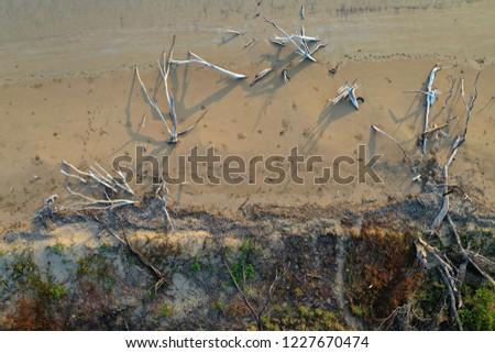 Aerial drone views of tropical coastline in Queensland, Australia #1227670474