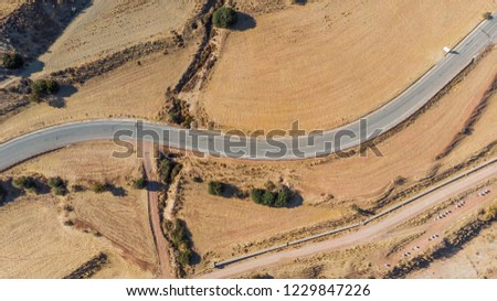 Aerial dry landscape in Cyprus Paphos, road to Troodos mountains  #1229847226