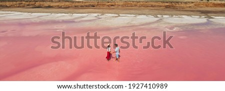 Aerial epic drone image of lovely romantic couple standing in bright colorful pink water of lake with salty coast. Baner panoramic view. Concept inner tourism Foto stock ©