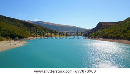 AERIAL: Fiastra lake. Marche Region, Italy.