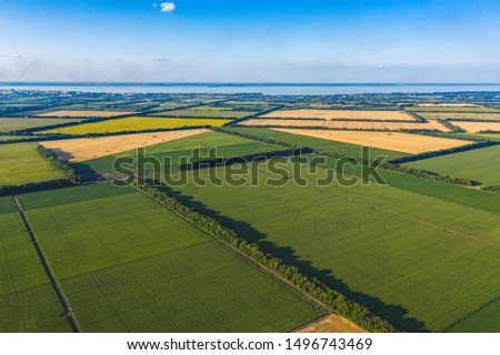 Aerial Flying Over corn, sunflowers, soybean. Giant smoke stack in industrial area behind fields and trees. Pollution of environment. Vegetation in industry background