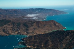 Aerial Footage of California Tropical Island (Catalina Island) Chain
