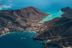 Aerial Footage of California Tropical Island (Catalina Island) Two Harbors