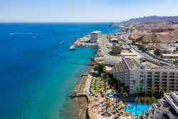 Aerial footage of Eilat city and Shoreline Drone footage over Eilat And coastline, Israel
