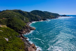 Aerial footage over Joaquina beach in Florianopolis, Santa Catarina, Brazil.