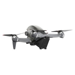 Aerial FPV Combo Drone Isolated on White. Back Side View Quad Copter with Digital Camera. Flying Remote Control Air Drone. Headless Quadcopter with 4K 60 fps Hasselblad Camera and Remote Control