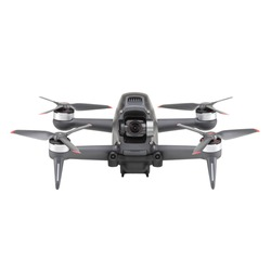 Aerial FPV Combo Drone Isolated on White. Bottom Front View Quad Copter with Digital Camera. Flying Remote Control Air Drone. Headless Quadcopter with 4K 60 fps Hasselblad Camera and Remote Control