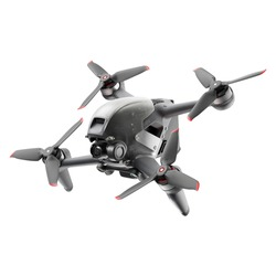 Aerial FPV Combo Drone Isolated on White. Side Front View Quad Copter with Digital Camera. Flying Remote Control Air Drone. Headless Quadcopter with 4K 60 fps Hasselblad Camera and Remote Control