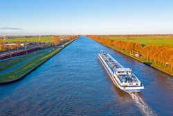 Aerial from a freighter on the Amsterdam Rijn Canal in the Netherlands