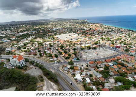 Aerial from a helicopter - Views around Curacao a Caribbean Island  #325893809