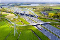 Aerial from junction Muiderberg in the Netherlands