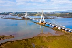 Aerial from the bridge at Portimao in the Algarve Portugal