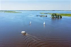 Aerial from watersports on the Sneekermeer in Friesland the Netherlands