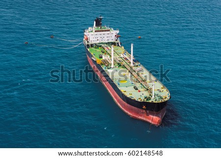 Aerial front side view of oil tanker