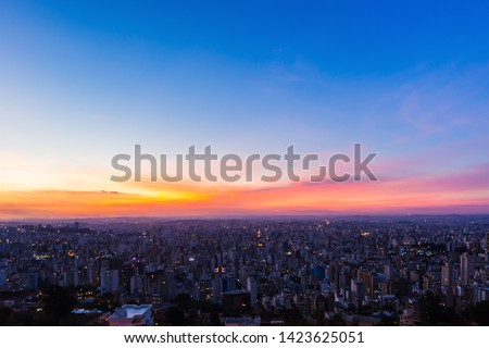 Aerial High Quality Panoramic Image of Belo Horizonte during Colorful Sunset - Location: Water Tank Belvedere (Mirante da Caixa D'Água)
