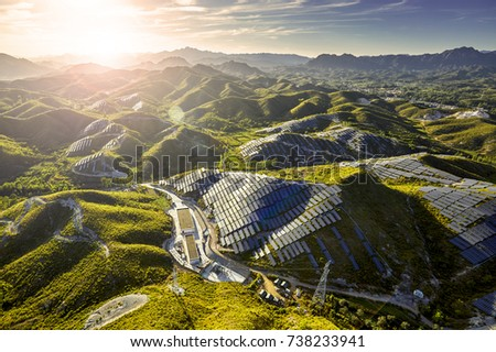 Aerial hillside solar photovoltaic power station