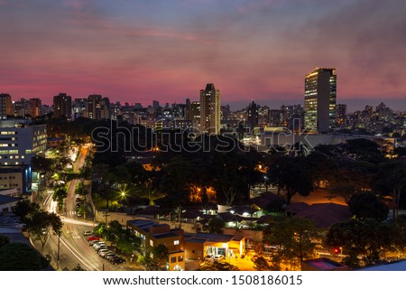 Aerial Image of a Beautiful Pink Sunset Sky over Belo Horizonte City