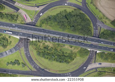 Aerial image of a busy road junction in the North of England.