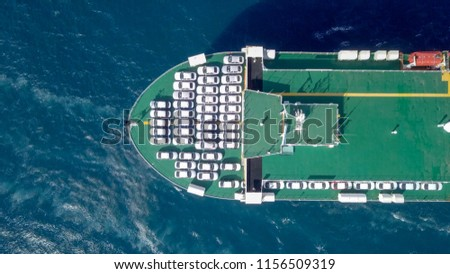 Aerial image of a Large RoRo (Roll on/off) Vehicle carrie vessel cruising the Mediterranean sea